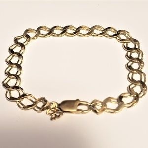 Real 14K Yellow Gold Link Bracelet with Butterfly